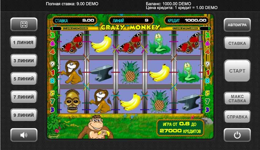 Crazy Monkey Main Screen